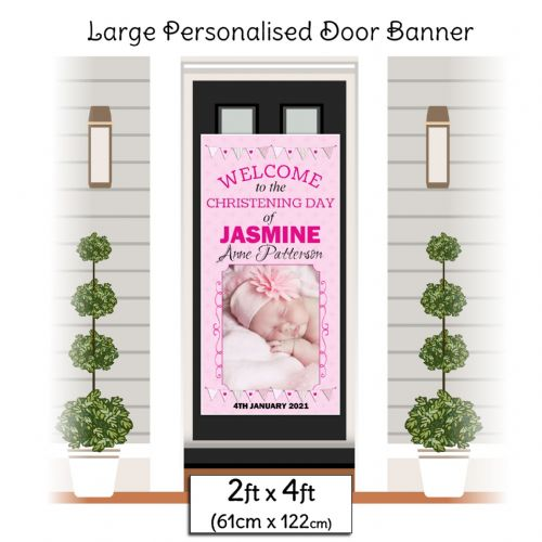Personalised Girls Christening Baptism Door PHOTO Poster Banner ~ N23